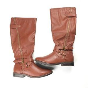 NEW London Fog Flat Tall Zipper Brown Riding Boots
